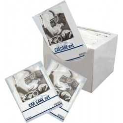 Clean set 5 pièces - 1 carton de 100 ( Protèges tapis de sol, volant, levier vitesse et frein à main + 1 housse siège)