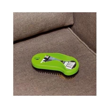 Brosse caoutchouc  plastique verte   pour enlever les poils danimaux