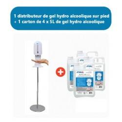 PACK barrière de protection COVID : 1 Distributeur sur pied + Gel hydro alcoolique