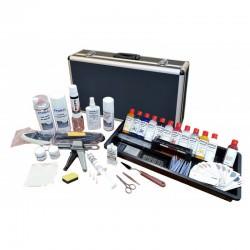 Mallette réparation plasturgie, vinyle et cuir  + aérographe + compresseur : Pour réparer les tableaux de bord et les vinyles